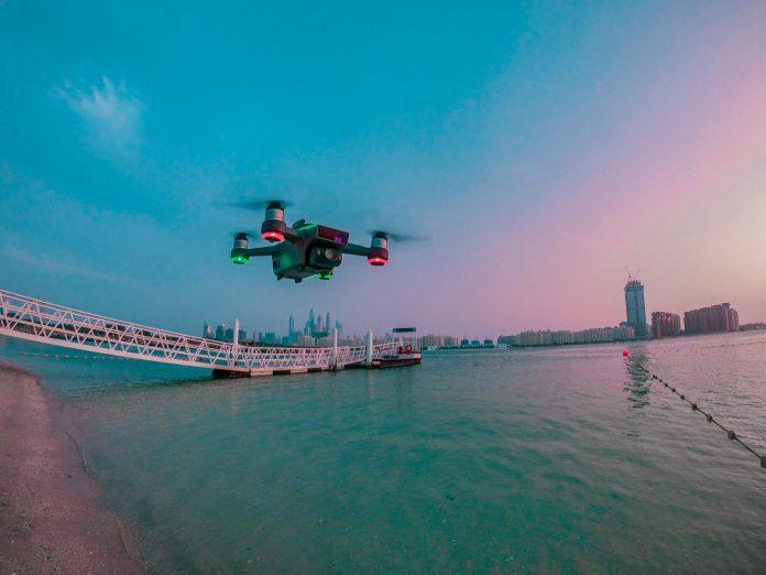 drone flying through sky